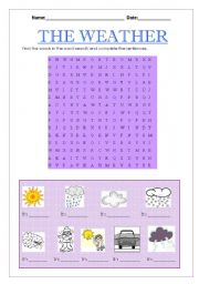 English Worksheet: The weather word search