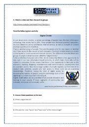 English Worksheets: Digital Divide
