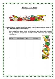 English Worksheet: Describing food