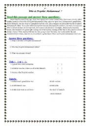 English Worksheets: Who is Prophet Mohammed ?[1 }
