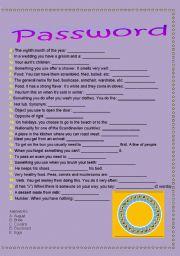 English Worksheets: Password