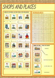 English Worksheet: SHOPS AND PLACES