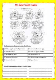 English Worksheets: Mr. Bunny �s daily routine