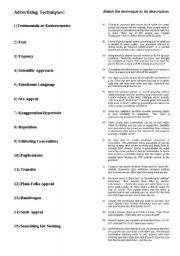 Worksheets Persuasive Techniques Worksheet advertising techniques worksheet delibertad matching exercise worksheet