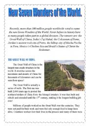 English Worksheet: New Seven Wonders of the World.