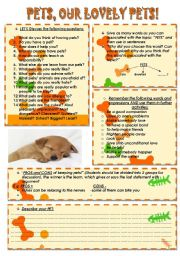 English Worksheets: Pets, our lovely pets!