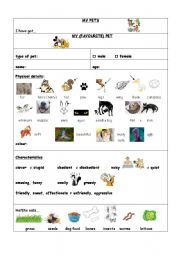 English Worksheets: MY PET(S)