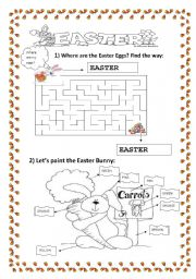 EASTER - writing, find the way and color!