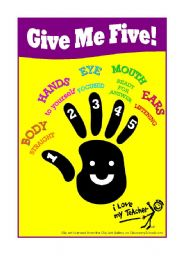 English Worksheets: Classroom Poster - Give Me Five