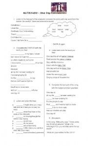 English worksheet: MATISYAHU - One Day