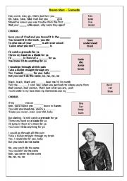 English Worksheets: Bruno Mars - Grenade