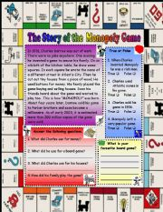 English Worksheet: The Story of the monopoly game