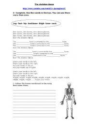 English Worksheets: The skeleton dance