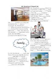 English Worksheets: Mr.Goodman�s present life