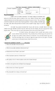 Reading Comprehension (Easter), Simple Future Tense, Homophones, Conjunctions and Vocabulary Test