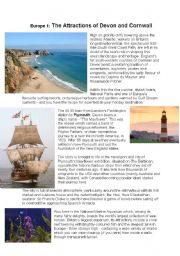 English Worksheet: Cornwall and Devon reading comprehension: holidays, tourist information leaflet