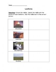English Worksheet: Landforms Matching Activity