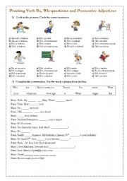 English Worksheets: Practing Verb To Be, Wh-questions and Possessive Adjectives - Page1