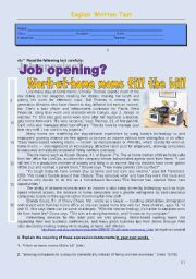 English Worksheet: Test about work-at-home mothers