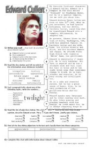 English Worksheets: Writing a description: Edward Cullen