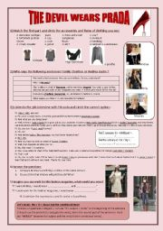 English Worksheets: Movie extract : The Devil Wears Prada / CLOTHES - FASHION - the conditional tense  **editable / script included**