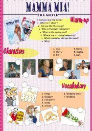 English Worksheet: Mamma mia-movie activity