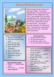 English Worksheet: Minnie and Mickey had a picnic