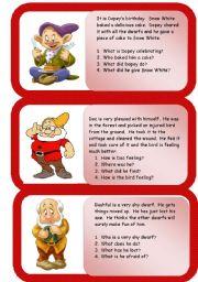 English Worksheets: the dwarfs - mini comprehensions
