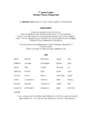 English worksheets: Abstract Nouns