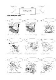 English Worksheet: cooking verbs PART I