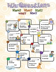 English Worksheets: Wh- question words