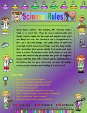 English Worksheets: Comprehension - Science Rules!
