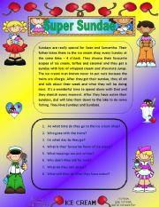 English Worksheets: Comprehension - Super Sundae