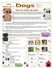 English Worksheet: Daily - Warm Ups 7 :  Dogs - Key Included ( 7/10)