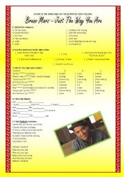 English Worksheets: Song activity - Bruno Mars - Just the way you are