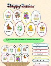 English Worksheet: Easter 2 pages