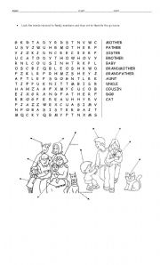 English Worksheet: family wordsearch and labelling