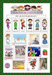 English Worksheets: Holiday Greetings Around the World