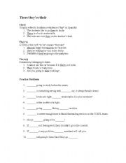 English Worksheets: Their, They�re, There: Definitions and Worksheet