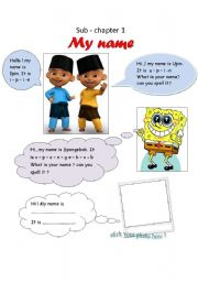 English Worksheets: My name (introducing yourself)