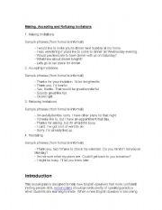 English Worksheets: Making, Accepting and Refusing Invitations