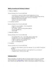 English Worksheet: Making, Accepting and Refusing Invitations