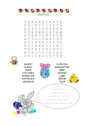Easter Word search with hidden message - ESL worksheet by