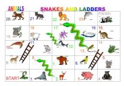 English Worksheet: Animals Board game