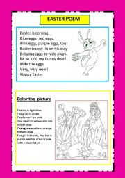easter poem and coloring activity