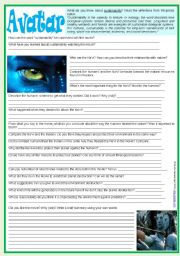 English Worksheets: Movies4Class: Avatar & Sustainability � written activity to start discussion after a movie session � plot included � 2 pages