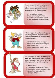 English Worksheets: the dwarfs - mini comprehensions - part two