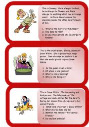 English Worksheets: the dwarfs  - mini comprehensions - part three