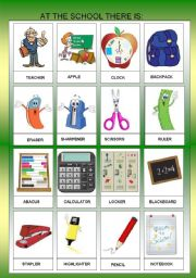 English Worksheet: AT THE SCHOLL OBJECTS - FLASHCARDS I  - FOR BEGINNERS  + B&W