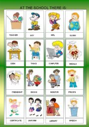 English Worksheet: AT THE SCHOLL OBJECTS - FLASHCARDS II  - FOR BEGINNERS  + B&W